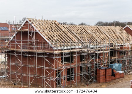 new home currently under construction - stock photo