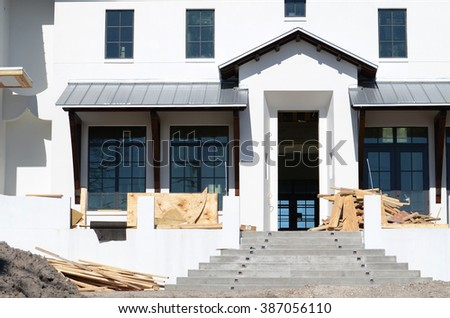new home for sale under construction - stock photo