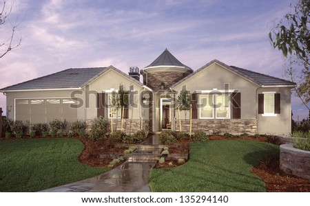 New Home House Exterior Architecture Stock Images,  Architectural Photos by Frank Short. Photo images of Interiors and Exteriors of architecture. - stock photo