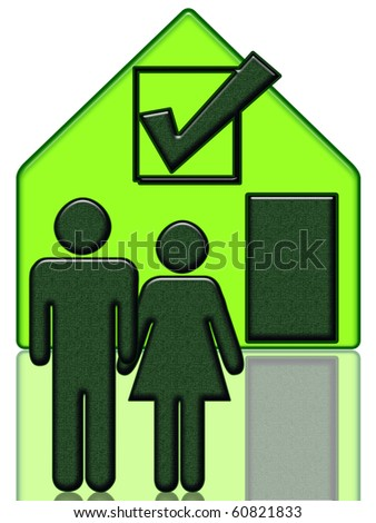 New Home, people and new house illustration isolated over white background