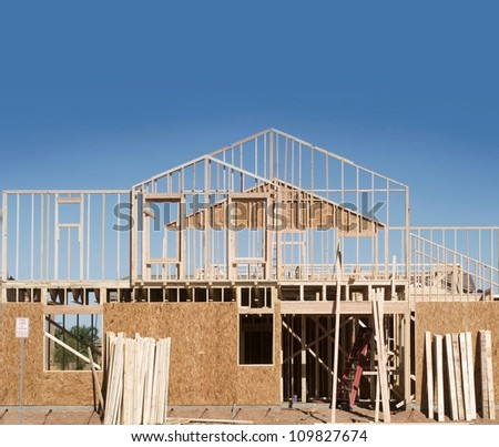 New Home Under Construction with copy space for text - stock photo