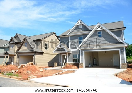 New homes being constructed that will be for sale at Georgia, USA. - stock photo