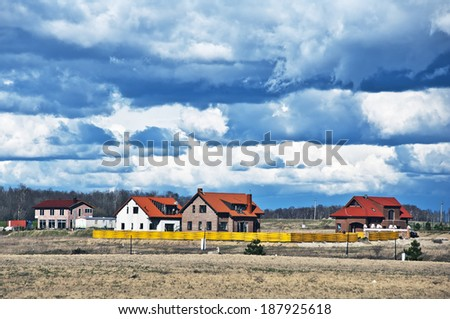 new homestead with blue sky  - stock photo