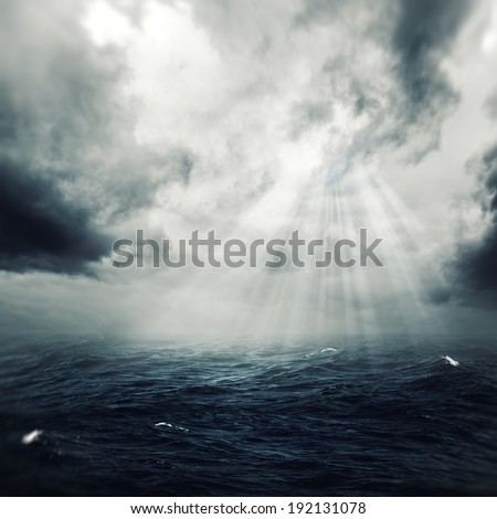 New hope in the stormy ocean, abstract environmental backgrounds - stock photo