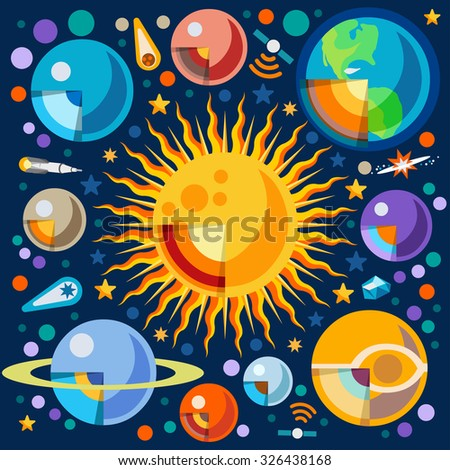 New Horizons of the Solar System Infographic. NEW bright palette 3D Flat Icon Set Cutaway Planets Pluto Venus Uranus Jupiter Saturn Universe Around the Sun Concept - stock photo