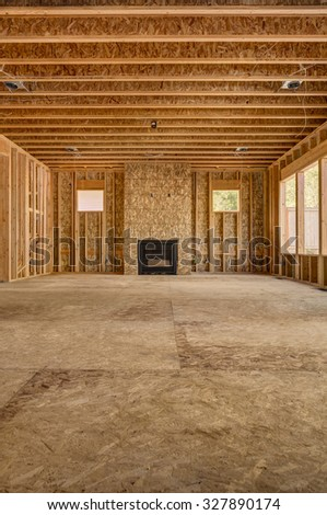 new house construction, wide view of great room - stock photo