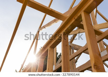 New house construction with sky - stock photo