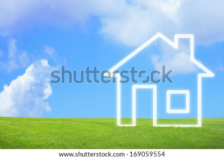 New house imagination vision on green meadow. Conceptual image - stock photo