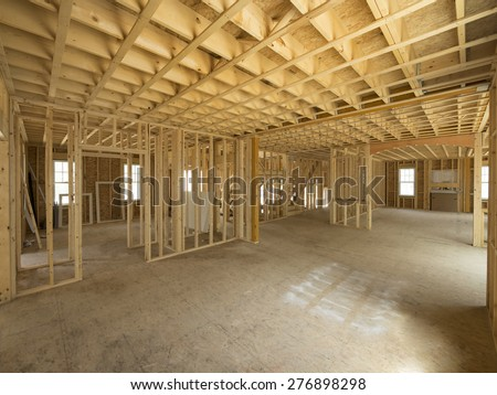 New house interior framing construction - stock photo