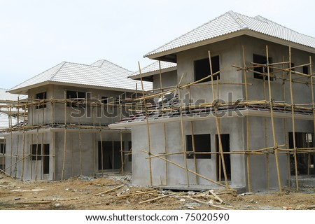 New house under construct - stock photo