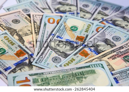 new hundred dollar bills - stock photo