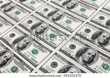 New Hundred Dollar Bills for background - stock photo
