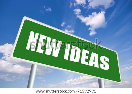 New ideas roadsign - stock photo