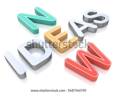 New ideas, words on a white background with colorful alphabets for the design of information related to communication and innovation - stock photo