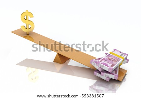 New Indian Currency with Dollar Symbol -  3D Rendered Image