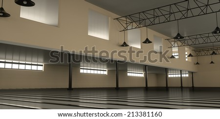 New industrial warehouse inside view, 3d render - stock photo