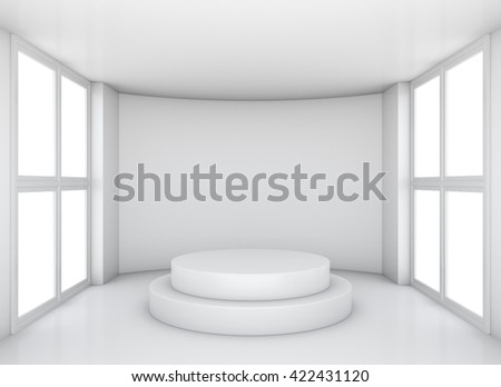 New interior with round concrete and large windows. 3D illustration