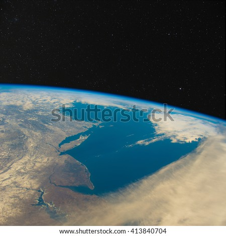New Jersey and New York from space with stars above. Elements of this image furnished by NASA. - stock photo