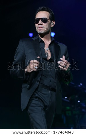 NEW JERSEY - February 14, 2014: Marc Anthony performs in concert on February 14, 2014 at the Prudential Center in Newark, New Jersey.