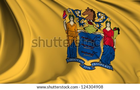 New Jersey flag - USA state flags collection no_3 - stock photo