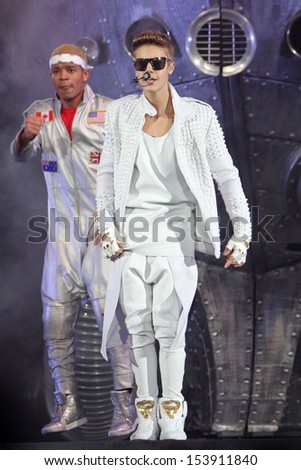 NEW JERSEY - JUL 30: Justin Bieber performs at the Prudential Center on July 30, 2013 in New Jersey.