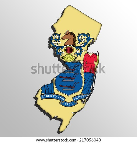 New Jersey map with the flag inside.