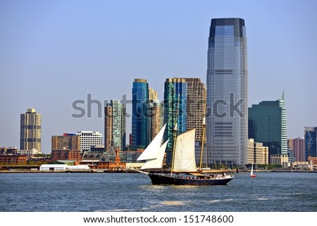 New jersey skyline at Exchange Place. - stock photo