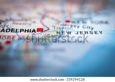 New Jersey state close up on map, shallow depth of field. (vignette) - stock photo