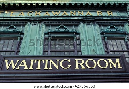 "NEW JERSEY, USA - APRIL 23, 2016:Sign ""waiting room""of  Lackawanna Terminal  in Hoboken New Jersey, USA."