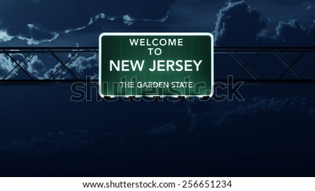 New Jersey USA State Welcome to Interstate Highway Road Sign at Night