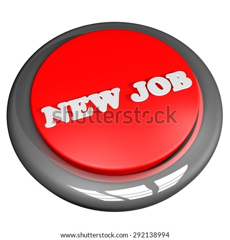 New Job button, isolated over white, 3d render, square image - stock photo