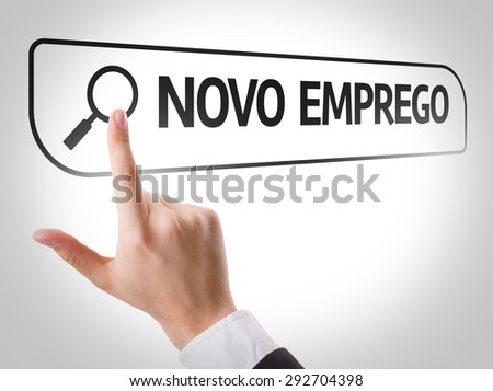 New Job (in Portuguese) written in search bar on virtual screen - stock photo