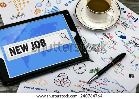 new job in search bar on touch screen - stock photo