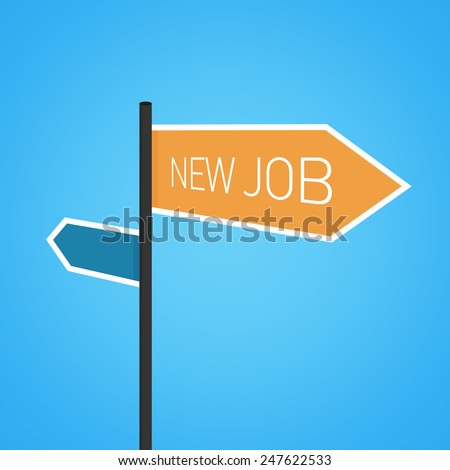 New job nearby, orange road sign concept on blue background