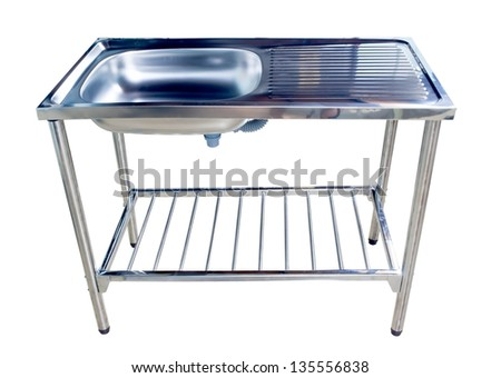 New kitchen sink. Isolated over white backgriund - stock photo