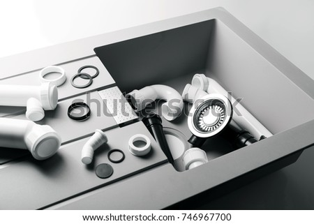 New Kitchen Sink Plumbing Fittings Stock Photo 746967700 ...