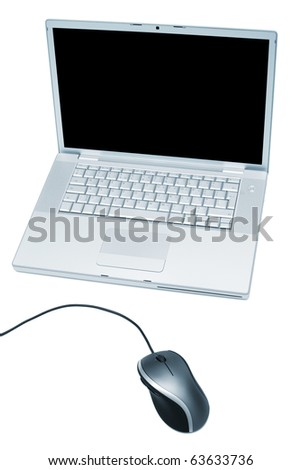 new laptop computer on white background