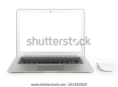 New laptop display with keyboard and mouse with blank screen isolated on a white background - stock photo