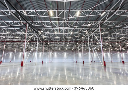 New Large modern empty warehouse  - stock photo