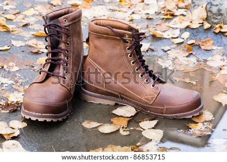 New leather men's shoes among the autumn leaves. - stock photo