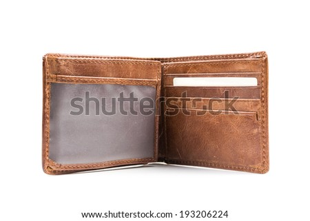 New leather wallet isolated on white background - stock photo