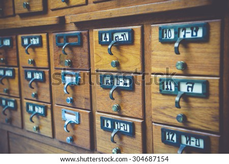 New Library Card Catalog for Search Books - stock photo