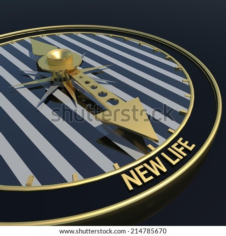 new life clock - golden pointer and black background - stock photo
