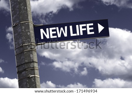 New Life creative sign with clouds as the background - stock photo