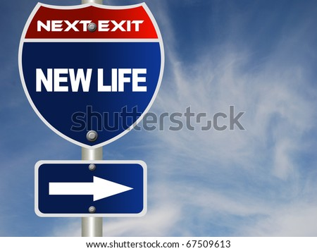 New life road sign - stock photo