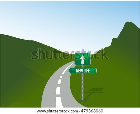 new life road sign and landscape illustration design