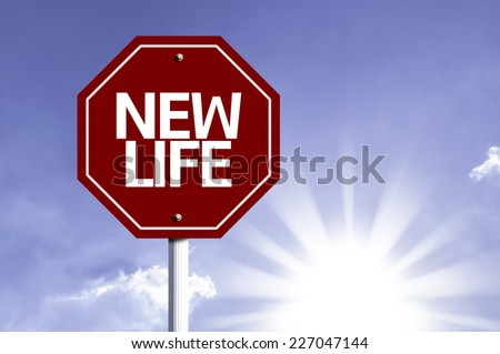 New Life written on red road sign with a sky on background - stock photo