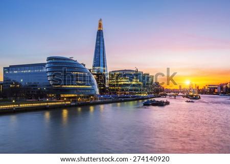 New London city hall at sunset, UK. - stock photo
