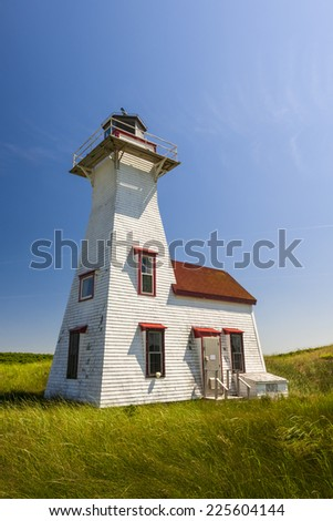 New London Range Rear Lighthouse in Queens County, Prince Edward Island, Canada - stock photo