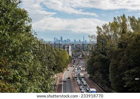 New London skyline seen from Archway Road, north London - stock photo